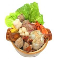 火鍋季節鮮品優惠賞(活凍鮮蝦+澎湖扁蟹+鯛魚+鮮肉丸)